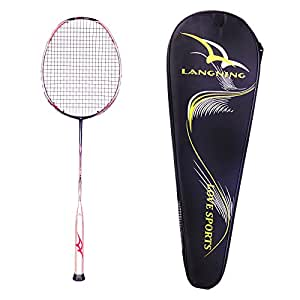 87d3a0c90 Badminton Racquet Light Racket Set from Langning Carbon Fiber 5U(77g)  Professional Tournament Single