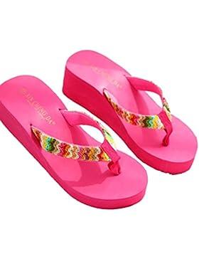 Ba Zha Hei-Sandalias Chanclas Mujer, de Mujer Zapatos de Mujer Ocasiones Casuales de Verano Cómodo Peep Toe Plataforma...
