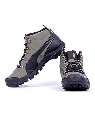 Puma Men's SilicisMid HC DP Burnt Olive and Orange Sneakers - 11 UK /India(46EU)