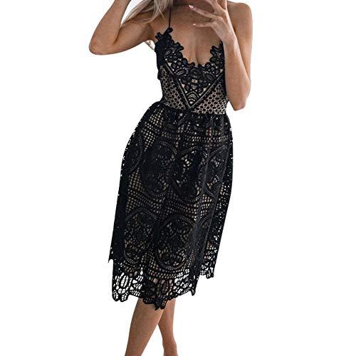 Cramberdy Damen Kleider Mini Cocktailkleid Abendkleid Sommerkleider Frauen Strandkleider Partykleid, Ärmelloses Kleid Abend Party Kleid Spitzenkleid Kleider Sommerkleider Herbstkleid Rockabilly Kleid