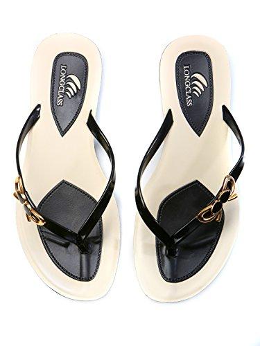 LONGCLASS edle Damen Flip Flops PRINCESSA, leichte Sandalen Sandaletten für den Sommer mit Absatz, bequeme Zehentrenner Badeschuhe mit dicker stabiler Gummi Sohle zum Baden Relaxen, schwarz weiß Schwarz