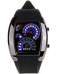 LED Reloj de carreras - SODIAL(R) LED Reloj de carreras de matriz de punto del flash azul de correa de caucho negro de esfera de medidor nuevo