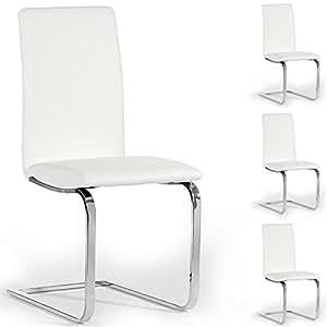 Lot de 4 chaises de salle à manger ANGELO, piètement chromé simili cuir blanc