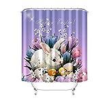 KnSam Anti-Schimmel Duschvorhang Kaninchen Badewanne Vorhang Anti-Bakteriell, Waschbar, Wasserdicht PEVA inkl. 12 Duschvorhangringe für Badzimmer - Stil 3 90x180cm
