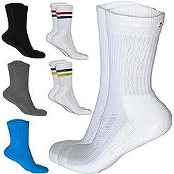 DANISH ENDURANCE Calcetines Performance Crew 3 Pares (1 x Rayas Rojas/Azules, 1 x Blanco, 1 x Rayas Verdes/Amarillas), EU 43-47