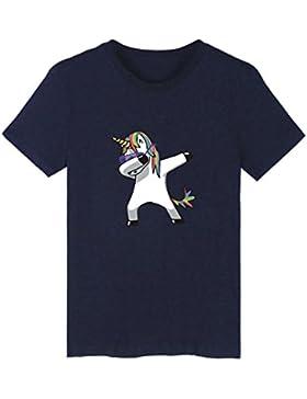 SIMYJOY Pareja Dabbing Unicornio Camiseta Historieta Adorable Manga Corta T-Shirt Dab Cool Lindo Animal Top Para...