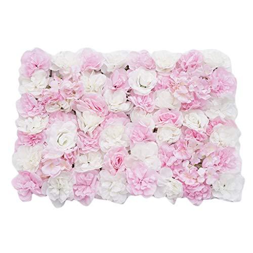 Sharplace Schöne Künstliche Blumen Säule, Kunstblumen Panel für Garten Hochzeit Dekor - Rosa Weiß
