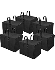 Storite Multi-Purpose Storage Bag/Clothing Storage Organiser/Toy Storage Bag/Stationery Paper Storage Bag with Zipper Closure and Strong Handle-((Black, 22.5x16x14.5 inch)