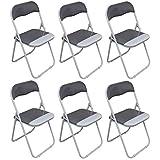 Chaise pliante rembourrée - pour le bureau - gris clair/blanc - lot de 6