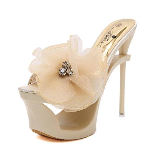 HN Shoes Damen Absatz Schuhe reizvolle Peep Zehe Plattform geformte Stilett-Diamant-Blumen Satin Sandelholz Hefterzufuhren Schwarz Silber Partei Abend Abschlussball, apricot, EUR 40 /UK 5.5 -