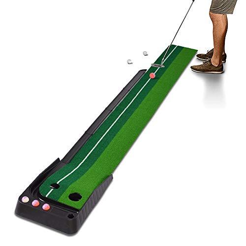 Hivexagon Innen Außen Golfball Set Auto Rückkehr Putting-Matte, professionelle tragbare Übungs Mini Golf Trainer Putting Green mit Rückkehr und 6 Bälle SP129 -