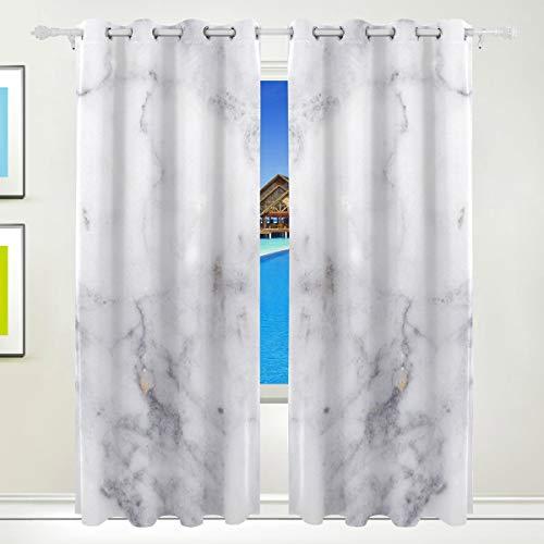 Ahomy Marmor Polyester Vorhänge Verdunkelungsvorhang Home Decor für Terrasse Fenster Schiebetür Glas Tür 213,3 x 139,7 cm 2 Paneele Set
