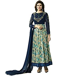 Uma Enterprise Women's Georgette Heavy Embroidary And Printed Work Anarkali Salwar Suit(Free_Size)