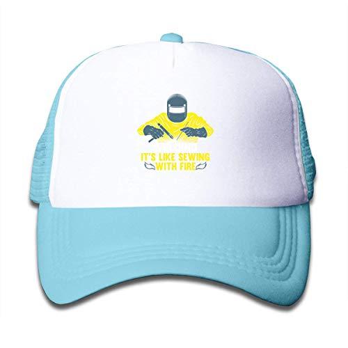 Trushop Boy's Girl's Welding It's Like Sewing with Fire Mesh Baseball Caps Kid's Trucker Hat Sky Blue Baseball Kappe