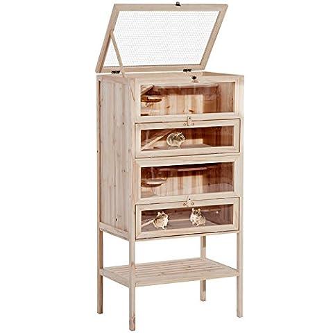 Cage Rongeur Bois - Pawhut Cage pour Hamsters Souris Petits Rongeurs