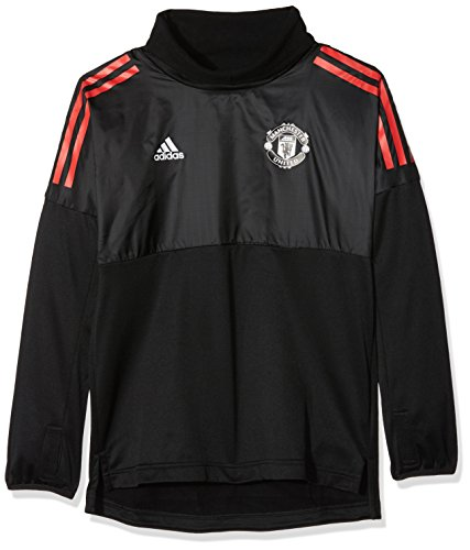 Adidas MUFC EU Hyb Tpy Sudadera Manchester United FC, Niños, (Negro/Rojo), 128 (7/8 años)