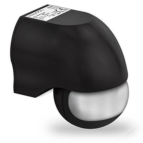 deleyCON PREMIUM Infrarot Bewegungsmelder - für Innen- und Außenbereich - 180° Arbeitsfeld - Reichweite bis 12m - Dreh-/Neigbarer Erfassungsbereich - IP44 Schutzklasse - Spritzwasser geschützt - Schwarz