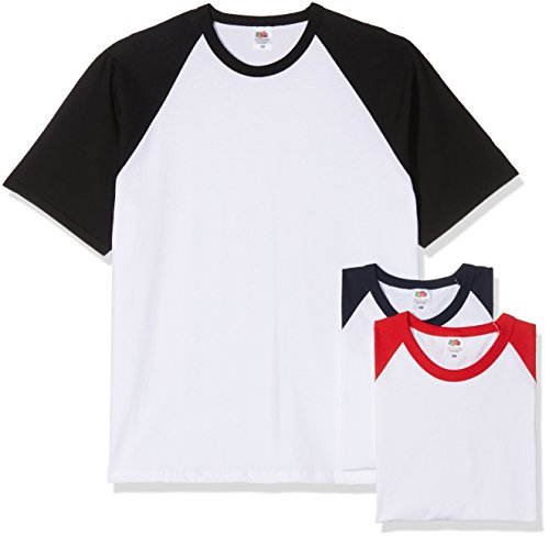 Fruit of The Loom Hombre Valueweight Multi-Pack of 3 Camiseta del béisbol X-Large Blanco/Negro, Blanco/Azul Marino Profundo, Blanco/Rojo