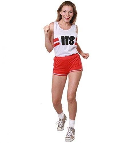 Kostüm Dress Fancy 118 - 118 DAMEN KOSTÜM WEISS UND ROT 118 FANCY DRESS CHARITY RACE, OUTFIT, MIT DRUCK, WEISS ROT 118 DAMEN SHORTS LAUFEN): 6-20