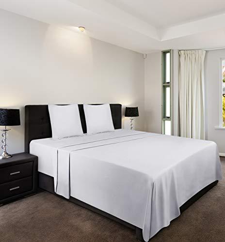 Utopia Bedding 4-Teilige Bettlaken Set - Spannbetttuch 180x200cm + Bettlaken 270x290cm + 2 x Kissenbezüge 80x80cm - Weiß - Gebürstete Microfaser