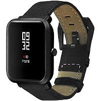Conquro Hebilla de Acero Inoxidable Pulsera de Cuero Hecho a Mano con Textura Retro para Xiaomi Huami Amazfit Smartwatch (Negro)