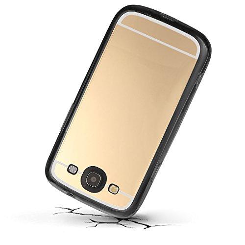 Coque pour iPhone Samsung S3, xhorizon Étui de protection effet miroir absorption des chocs Bumper anti-rayures réflexion métallique pour Samsung Galaxy S3 i9300 Or