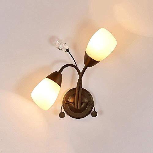 Chqw trade lampada da parete e27 in ferro a 2 luci in vetro moderna applique da parete minimalista camera da letto comodino vano scale balcone illuminazione creativa hotel room ristorante illuminazion