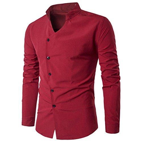 Camicia da uomo , feixiang® t-shirt shirts camicia camicie polo camicetta cappotto giacca maglione felpe hoodie pullover maniche lunghe moda personalità casual slim top m~l2 (rosso, l)