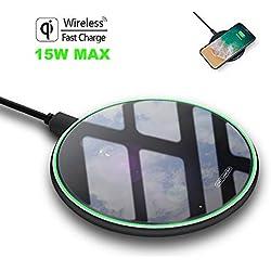 FDGAO Chargeur à Induction, Pad de Charge Rapide sans Fil 15W pour Qi-Phones Chargeur Wireless Compatibile Con iPhone XS MAX/XR/X/8/8 Plus,Galaxy S10/S10+/S10E/S9+/S8/S7/Note 8, et Plus