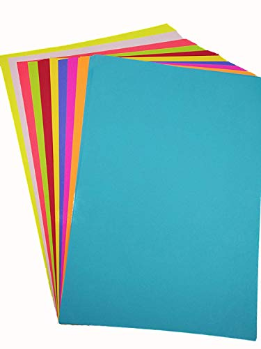 A4 Color Paper Premium Neon Colours Pack of 50 Sheets (10 Colors x 5 Sheets Each Colour) for Art & Craft Work. (50 Sheets)