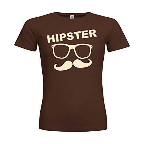 dress-puntos Woman T-Shirt Hipster Brille Bart 20drpt15-w01037-267 Textil Brown/Motiv Beige/Gr. M (267 Brille)