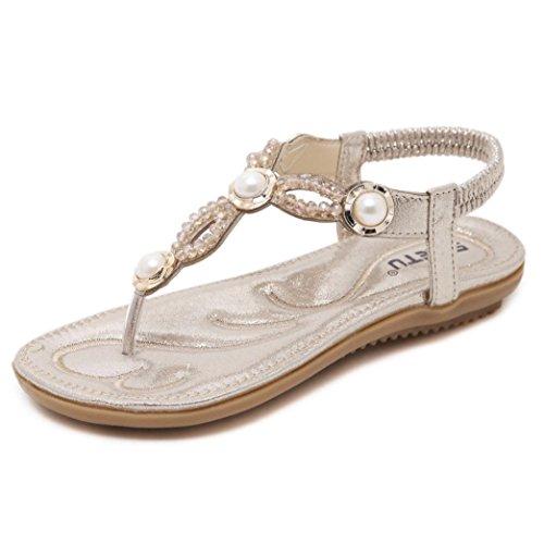 Elecenty Sandalen Damen,Übergröße Schuhe Flip Flops Shoes Schuh Böhmen Sommerschuhe Strass Sandaletten Frauen Sommer Offene Flach Badesandalette Elegante Strandschuhe (37, Gold) (Kleid Schwarz Mule Leder)