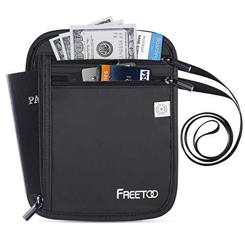 FREETOO Brustbeutel Organizer mit RFID-Schutz Reisegeldbeutel Sicherheit Wasserfeste Brusttasche für Smartphone und Reise-Dokumente Leichte Halsgeldbörse zum Umhängen für Damen, Herren, Kinder -