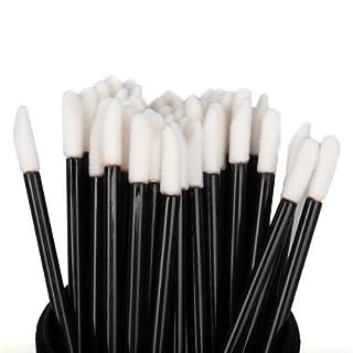 Einweg-Lippenbürste, Alohha 100pcs Einweg-Lippenbürste Lip Gloss Pinselständer Lippenstift Glanz Applikatoren Make-up-Tool, Schwarz