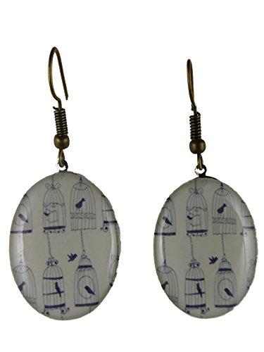 Ausgefallene Ohrringe Ohrhänger Hänger Cabochon oval Kunststoff Acryl Vogel Vogelkäfig Käfig Erker weiß / schwarz 4817