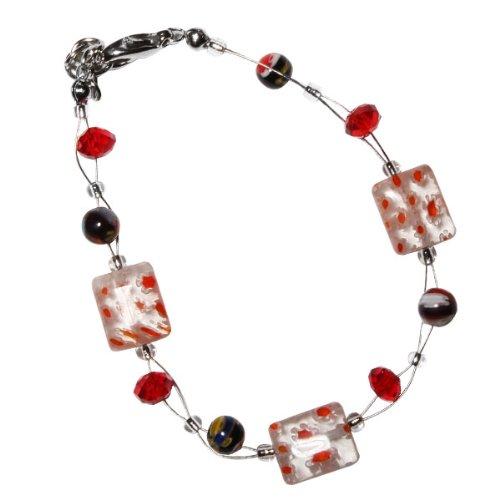 Chic-Net Murano glass scintillio braccialetto di perline rettangolo rosso arancio perle di vetro nero signore 18-20 cm nickel free