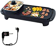 Electric BBQ Roasting Pans, BEONE Electric Hot Pot, Smokeless Non-Stick Indoor 2 in 1 Electric BBQ Grill, Mult
