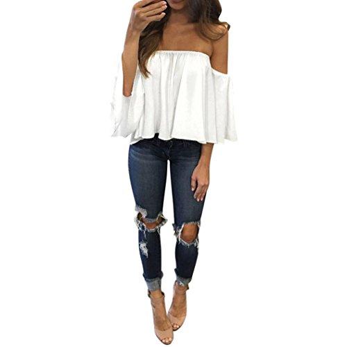 Damen Schulterfrei Trägerlos Chiffon Locker Langarm T-shirt Top Von Xinan (S, Weiß)
