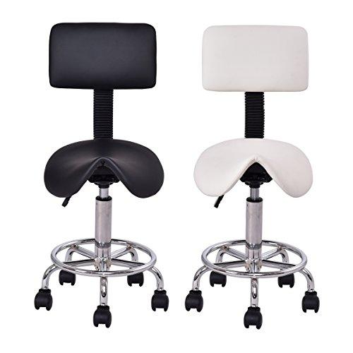 GOPLUS Sattelhocker Arbeitsstuhl Sitzstuhl höhenverstellbarer Friseurstuhl Drehstuhl mit Rollen, Farbewahl 81-96 x 37 x 34 cm (Schwarz) - Rückenlehne Sattel-hocker Mit