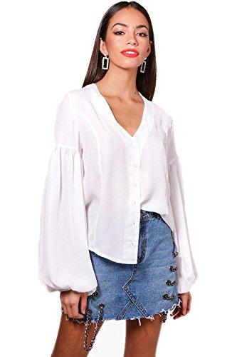 Weiß Damen Amy Balloon Sleeve Woven Shirt - 14 (Sleeve Shirt Woven)