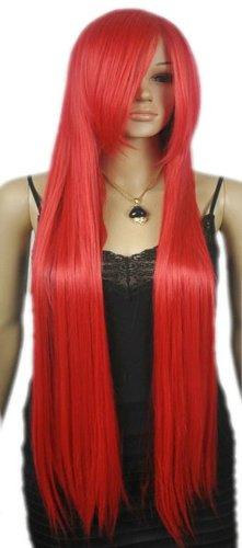 QIYUN.Z Haarteile Damen Perücken Extra Lange Frauen Gerade Leuchtend Rote Rolle Paly Hitzebeständige Faser Synthetische Haar Voller Anime Cosplay Kostüm Perücke