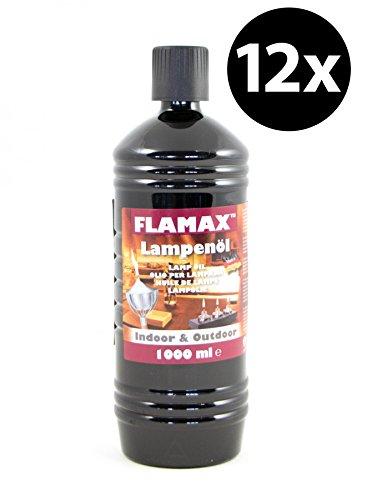 Flamax Paraffin Lampenöl Premium Qualität Vorteilspack 12x 1000ml -