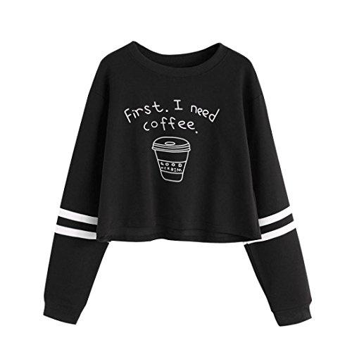 OverDose Donna Ragazza Felpe Pullover Camicetta Maglia,Sono Disponibili 18 Colori e Stili,XS-XXL nero_F