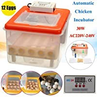 Tradico® TradicoBrand New 12 Eggs Automatic Chicks Incubator Mini Hatching Machine AC 220V-240V 30W NEW