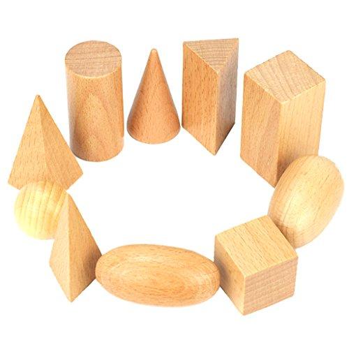Homyl Set de 10 Piezas Bloque de Geometría Sensorial de Madera Juguetes Educativos para Niños Bebés