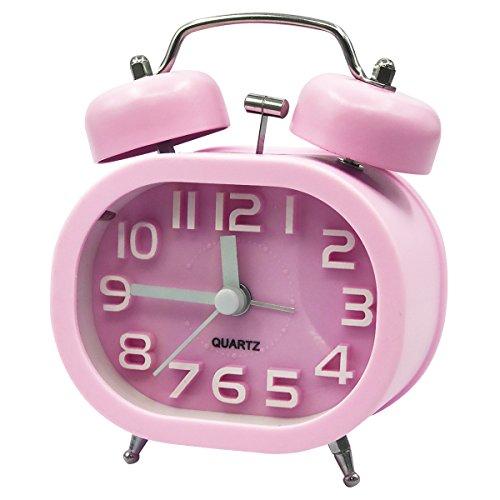 Reloj Despertador Coolzon 3' Retro Relojes Analógico de Cuarzo Silencioso Despertadores Alarma Fuerte sin Tic Tac con Luz Nocturna y Campana Doble (Rosa)