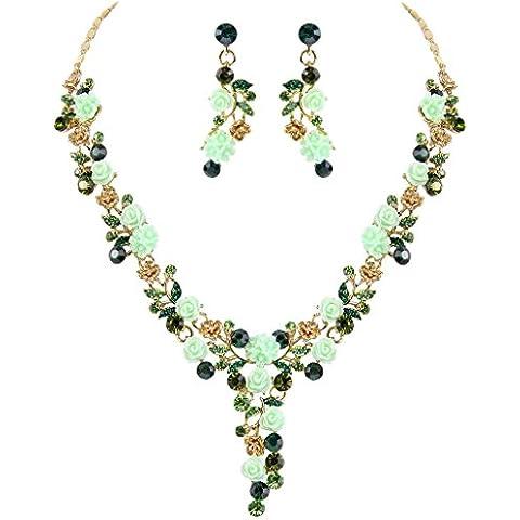 EVER FAITH® Gold-Tone di cristallo austriaco sacco Camelie nuziali della collana orecchini set