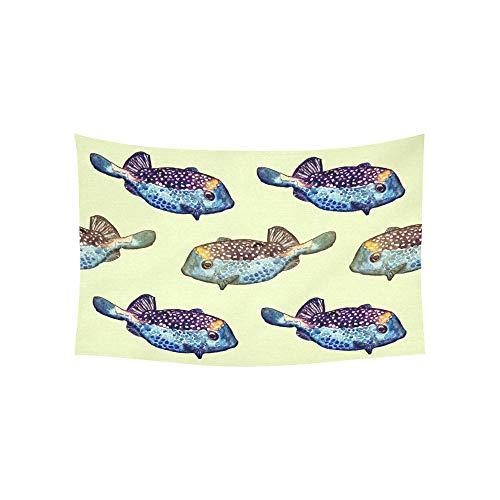 JOCHUAN Tapisserie Fisch Wandteppiche Wandbehang Blume psychedelischen Wandbehang Wandbehang indischen Wohnheim Dekor für Wohnzimmer Schlafzimmer 60 X 40 Zoll (Aqua-aquarium Herr)