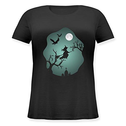 Halloween - Hexe Mond Grusel Grün - L (48) - Schwarz - JHK601 - Lockeres Damen-Shirt in großen Größen mit Rundhalsausschnitt