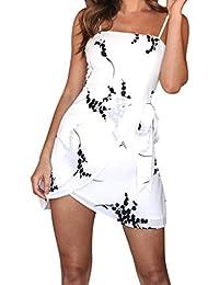 17b4600fb581 COOLIY Slings Corto Abito Bianco da Sera Brasiliano Mini Vestito Donna Sexy  Wrap Dress Elegante Cocktail